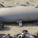 Wreckage from the downed drone, thought to be a Hermes 900. Click to enlarge for a much more detailed image