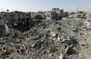 Gaza City's Shejaia neighborhood following Israeli bombardment and air strikes. Click to enlarge