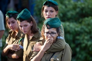 Israeli soldiers during funeral of soldier Li Mat. Click to enlarge