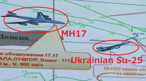 The Russians have radar evidence that a Ukrainian SU-25 fighter approached the Malaysia Airlines plane before it disappeared from the radar screen. The real question is who was flying the fighter(s) that appeared to be Ukrainian planes? Did they shoot down MH17? Click to enlarge