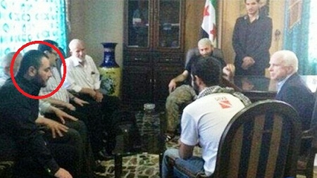 John McCain meets with Abu Bakr al-Baghdadi, leader of ISIS in Aleppo in April 2013.