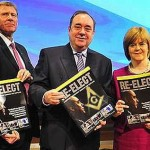 """Scottish National party leader, Alex Salmond (center) with Justice Min. Kenny MacAskill and Deputy Nicola Sturgeon. Note the Masonic symbol being held by Salmond. Like Duncan we believe an """"Independent"""" Scotland we be no more free of the elite than it is today, only the front office managers would change. Click to enlarge"""