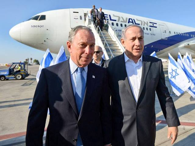 ZIONIST PARTNERS IN CRIME - Michael Bloomberg and Bibi Netanyahu during Israel's aggression against Gaza Bloomberg and Netanyahu also happen to be two of the highest people involved in the 9-11 crime and cover-up. Bloomberg served as the mayor of New York City for 12 years after 9-11, during which time he oversaw the management of the cover-up. He is also the chairman of the 9-11 museum and memorial in which the official version, the false narrative, is pushed on the public like a product.