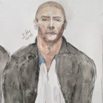 A drawing of Mehdi Nemmouche, who is suspected killing four people at Brussels Jewish museum, during a court hearing in Versailles, France. Click to enlarge
