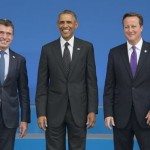 NATO Secretary General Anders Fogh Rasmussen and the Prime Minister of the United Kingdom, David Cameron welcome Barack Obama, President of the United States