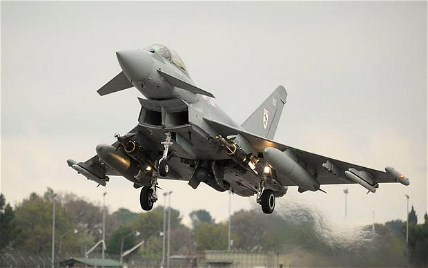 RAF typhoon takes off for mission over Libya. Click to enlarge