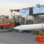 The white missile has '373' written on it in Persian numerals, suggesting it might be the Bavar 373. Click to enlarge