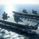 When launched the HMS Queen Elizabeth and the HMS Prince of Wales will be the two biggest ships to have ever sailed in the Royal Navy. Click to enlarge