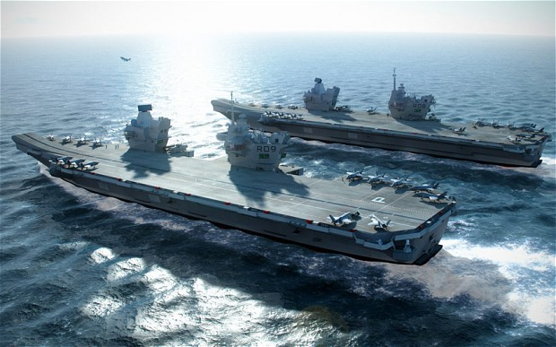 HMS Queen Elizabeth and the HMS Prince of Wales will be the two biggest ships to have ever sailed in the Royal Navy. Click to enlarge