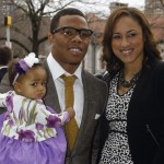 Ray Rice, wife Janay Palmer  and daughter Rayven, age 3. Click to enlarge