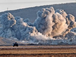 Air strike against Isis near Kobani. Click to enlarge