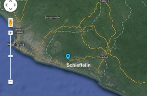 Schieffelin is located in Margibi County along the Robertsfield Highway that leads to the Roberts International Airport, Harbel and Buchanan (Maplandia image). Click to enlarge