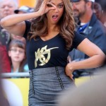 Tyra Banks on the set of Good Morning America shows you who's the boss of her. Added Bonus : Her shirt has one eye on it.