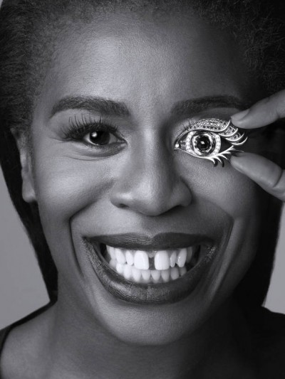 "Uzo Aduba became famous due to her role in the series ""Orange Is the New Black"". The name of her character was Crazy Eyes so she ABSOLUTELY had to do the one-eye sign in Harper Bazaar."
