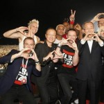 Masonic hand signs. No Doubt poses with actor Hugh Jackman, Global Citizen Project cofounder Hugh Evans, Ban Ki-moon, the secretary-general of the United Nations, and Jim Young Kim, president of the World Bank. Click to enlarge