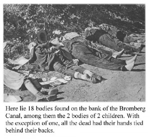 "The torture-mutilation-massacre at Bromberg occurred just 2 days after the liberating Germans arrived in western Prussia. The brutality of the mass killing gives an indication of the type of abuse that innocent Germans, trapped in Poland, had been suffering while Smigly ""looked the other way"". Click to enlarge"