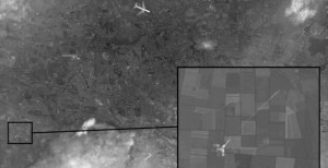 Satellite image of Ukranian SU-25 shooting down Malaysian Airlines Flight MH17. Click to enlarge