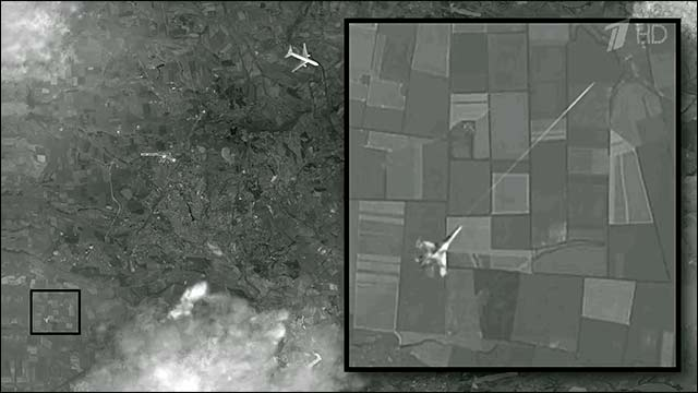 NOVEMBER 14, 2014 (18:00) - Russian TV1 airs satellite images clearly showing a fighter jet firing a missile at Malaysia Airlines Flight MH17, the passenger aircraft that was shot down over Ukraine in July 2014.