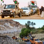 "Images: Same convoy, different flag. Even in 2011, it was painfully obvious the so-called ""rebels"" fighting with NATO assistance in Libya were in fact members of long-standing Al Qaeda franchises including the Libyan Islamic Fighting Group (LIFG) and Al Qaeda in the Islamic Maghreb (AQIM). Their strongholds in eastern Libya served as the ""revolution's"" cradle, meaning the ""revolution"" was merely cover for a NATO-assisted Al Qaeda uprising. In other words, NATO handed Libya over to Al Qaeda, and is attempting to do likewise with Syria."