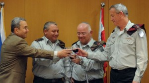 Gen Eizenkot (2nd from left) raises a toast with fellow commanders. Click to enlarge