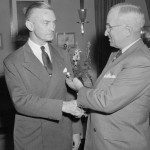 President Truman Presenting a Distinguished Service Medal to James Forrestal. Click to enlarge