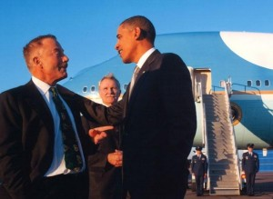 Terry Bean rode on Air Force One in 2012, after raising $500,00 for Obama. Click to enlarge