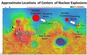 Earlier this week, physicist Dr John Brandenburg said he believes an ancient civilisation on Mars was wiped out by a nuclear attack from another alien race. He says there is evidence for two nuclear explosions on Mars (image from his paper shown). Click to enlarge