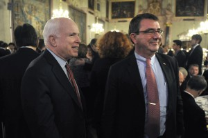 Sen John McCain and Defense Secretary Carter rub elbows at some 'hoidy-toidy' party for the elitist scum of DC. Click to enlarge