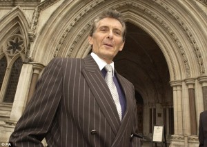 Cash for power: Property tycoon Nicholas van Hoogstraten, who is bankrolling Grace Mugabe, at the High Court in 2005 as part of a civil case brought against him by the family of business rival Mohamed Raja. Click to enlarge