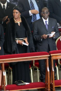Dictator in waiting: Zimbabwe's President Robert Mugabe flanked by his wife Grace at the canonisations of Popes John Paul II and John XXIII in Saint Peter's Square on April 27, 2014 in Vatican City, Vatican. Click to enlarge