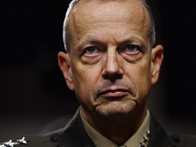 """Former commander of NATO forces in Afghanistan, General John R. Allen conspired with General David Petraeus to sabotage the Syria peace plan at the Geneva 1 Conference. President Barack Obama had him placed under surveillance and managed to prevent his appointment as head of NATO. However, he managed to stay in office despite the charges against him (while Petraeus was forced to resign from the leadership of the CIA). Become commander of the anti-Daesh Military Coalition, he supports the shenanigans that General Petraeus leads from the Kohlberg Kravis Roberts Global Institute. He is director of the Center for a New American Security (CNAS), the think tank of """"liberal hawks""""."""