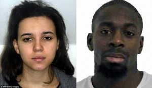 French police named the hostage taker as Amedy Coulibaly, 32, and named a woman named Hayat Boumeddiene (left), 26, as his accomplice. Click to enlarge