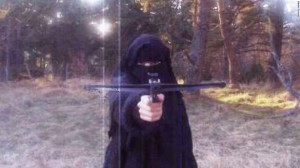 Hayat Boumeddiene in 2010 with crossbow. Click to enlarge