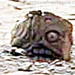 Bizzarre rock formation of the head of a statue on Martian surface?