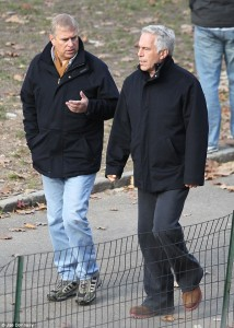 Prince Andrew pictured in 2011 with Jeffrey Epstein. Click to enlarge