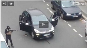 Shoot out outside Charlie Hebdo offices. Click to enlarge