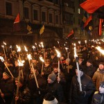 Supporters of Svoboda (Freedom) and Right Sector nationalists march on the 106th anniversary of the birth of Stepan Bandera.