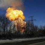 A view of an explosion after shelling is seen not far from Debaltseve. Click to enlarge
