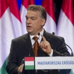 Hungarian Prime Minister Viktor Orbain delivers a state of the union address in Budapest Feb 27, 2015. Click to enlarge