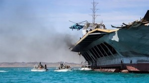 IRGC board scale replica US Aircraft carrier. Click to enlarge