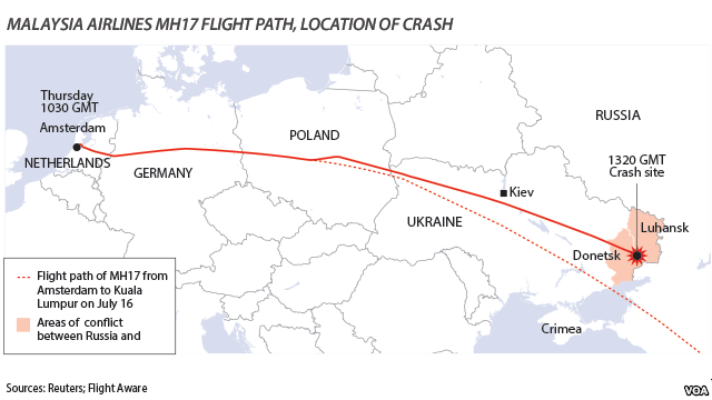 MH17 flight path and location of crash