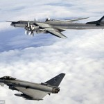 RAF Typhoon intercepts Russian Bear bomber. Click to enlarge