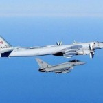 Russian TU-95 bomber escorted by RAF Typhoon. Click to enlarge
