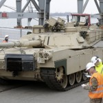 U.S. Abrams main battle tank leaves Riga port March 6 2015