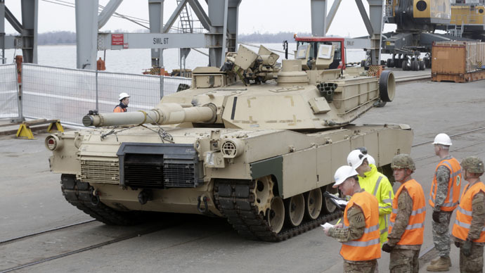 U.S. Abrams main battle tank leaves Riga port in Latvia, March 6 2015.
