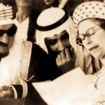 Queen Elizabeth with King Saud, descended from Jewish merchants. Click to enlarge
