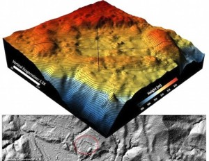 University of Houston and National Center for Airborne Laser Mapping produced this 3D topological map which when examined shows a man made plaza ringed in red. Click to enlarge