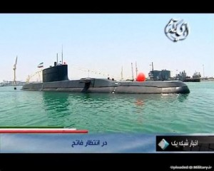 Video still of Fateh submarine. Click to enlarge