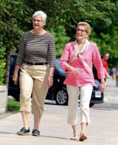 "Ontario Premier Kathleen Wynne, right, and longtime partner, Jane Rounthwaite. Wynne is introducing a controversial ""sex ed"" curriculum that promotes homosexuality. Click to enlarge"