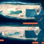 Satellite images released by Jane's Defense Weekly show that, between Feb. 6 and March 23, China built the first section of a concrete runway on Fiery Cross Reef in the Spratly Islands archipelago, which at least three other countries claim. Click to enlarge